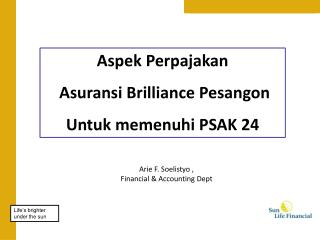 Aspek Perpajakan Asuransi  Brilliance  Pesangon Untuk memenuhi  PSAK 24