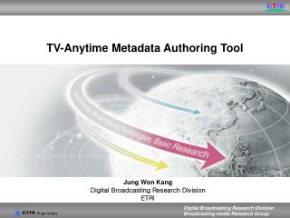 TV-Anytime Metadata Authoring Tool