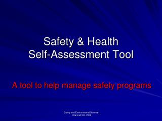 Safety & Health Self-Assessment Tool