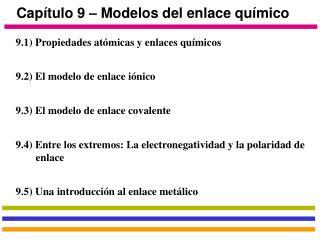 Cap�tulo 9 � Modelos del enlace qu�mico
