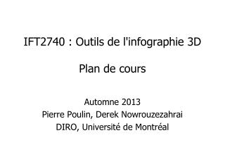 IFT2740 :  Outils de l'infographie 3D Plan de cours
