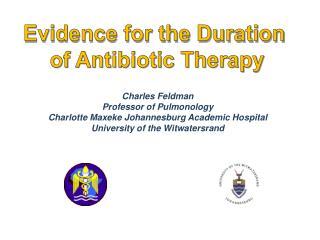 Charles Feldman Professor of  Pulmonology Charlotte  Maxeke  Johannesburg Academic Hospital