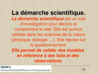 La d marche scientifique.