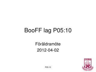 BooFF lag P05:10