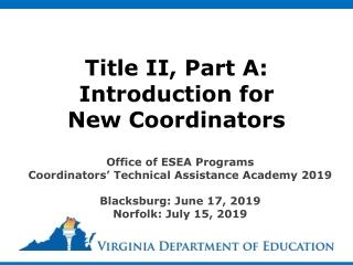 New Title II-A Coordinator Training