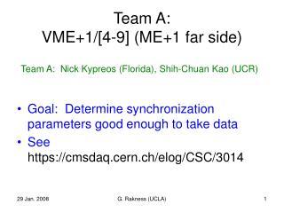 Team A: VME+1/[4-9] (ME+1 far side)