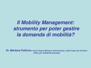 Il Mobility Management:  strumento per poter gestire  la domanda di mobilità?