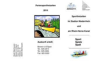 Sportfreizeiten im Stadion Niederrhein und am Rhein-Herne-Kanal