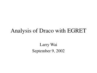 Analysis of Draco with EGRET