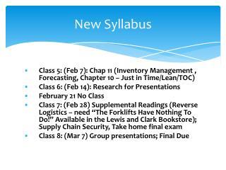 New Syllabus