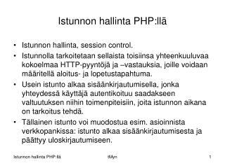 Istunnon hallinta PHP:llä