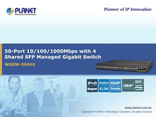 50-Port 10/100/1000Mbps with 4 Shared SFP Managed Gigabit Switch