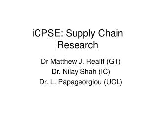 iCPSE: Supply Chain Research