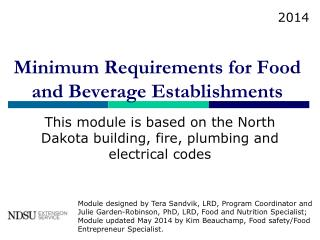 Minimum Requirements for Food  and Beverage Establishments