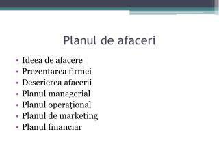 Planul de afaceri