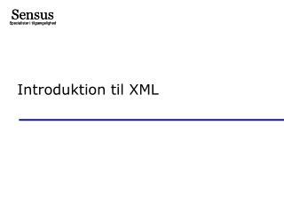 Introduktion til XML