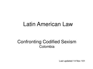 Confronting Codified Sexism Colombia