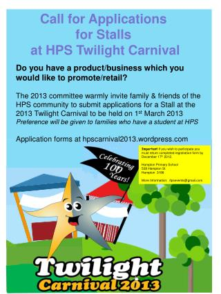 Call for Applications  for Stalls  at HPS Twilight Carnival