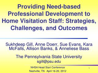 Providing Need-based Professional Development to Home Visitation Staff: Strategies, Challenges, and Outcomes