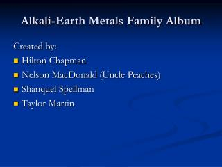Alkali-Earth Metals Family Album