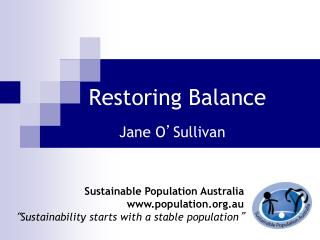 Restoring Balance