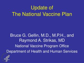 Update of The National Vaccine Plan
