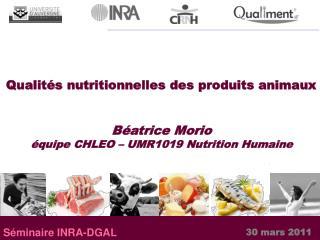 Qualités nutritionnelles des produits animaux