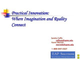 Practical Innovation:   Where Imagination and Reality Connect