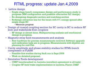 RTML progress: update Jan.4,2009