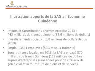 Illustration apports de la SAG a l'Economie Guinéenne