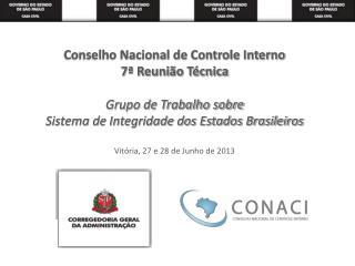 Conselho Nacional de Controle Interno 7ª Reunião Técnica Grupo de Trabalho sobre