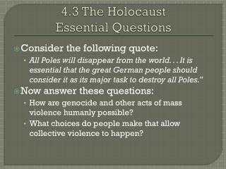 4.3 The Holocaust Essential Questions