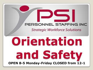 Orientation and Safety