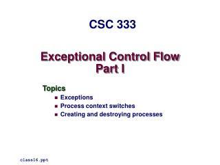 Exceptional Control Flow Part I