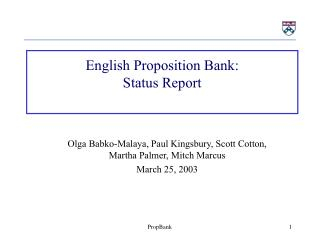 English Proposition Bank: Status Report