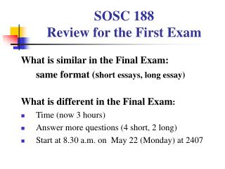 SOSC 188 Review for the First Exam