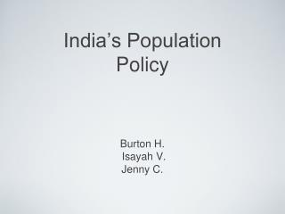 India's Population Policy
