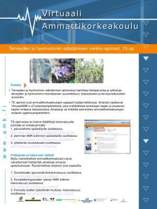Terveyden ja hyvinvoinnin edistämisen verkko-opinnot, 15 op