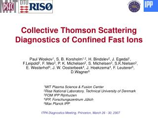 Collective Thomson Scattering Diagnostics of Confined Fast Ions