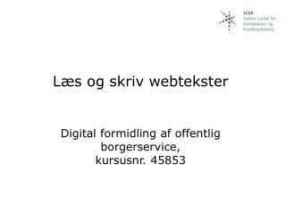 Læs og skriv webtekster