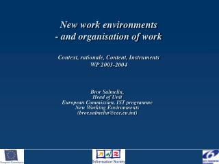Bror Salmelin, Head of Unit European Commission, IST programme  New Working Environments