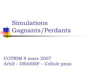 Simulations Gagnants/Perdants
