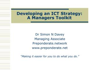 Developing an ICT Strategy: A Managers Toolkit