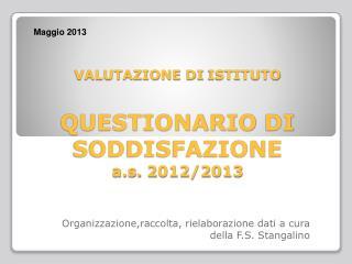 VALUTAZIONE  DI  ISTITUTO QUESTIONARIO  DI  SODDISFAZIONE a.s.  2012/2013