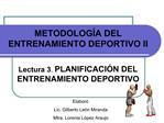 METODOLOG A DEL ENTRENAMIENTO DEPORTIVO II