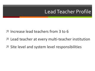 Lead Teacher Profile