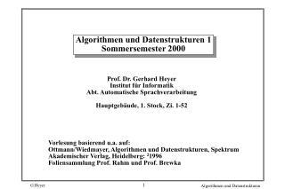 Algorithmen und Datenstrukturen 1 Sommersemester 2000