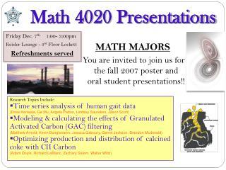 Math 4020 Presentations