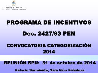 CONVOCATORIA CATEGORIZACIÓN 2014