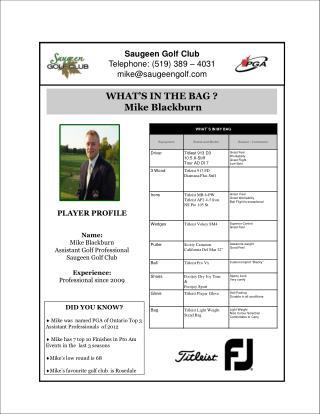 Saugeen Golf Club Telephone: (519) 389 – 4031 mike@saugeengolf